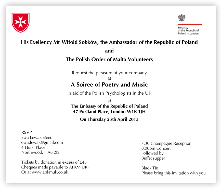 Polish Embassy invitation